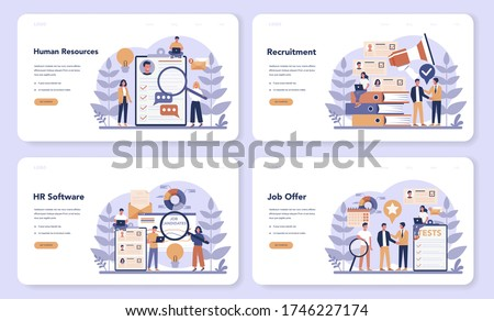 Human resources web banner or landing page set. Idea of recruitment and job management. Teamwork management. HR manager occupation. Flat vector illustration Stock photo ©