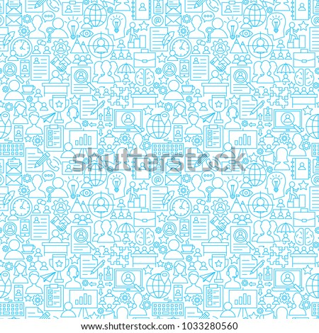 Human Resources White Line Seamless Pattern. Vector Illustration of Outline Tileable Background.