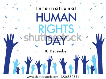 Human Rights Day with hand on white background Vector Illustration