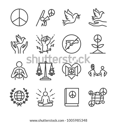 human rights line icon set