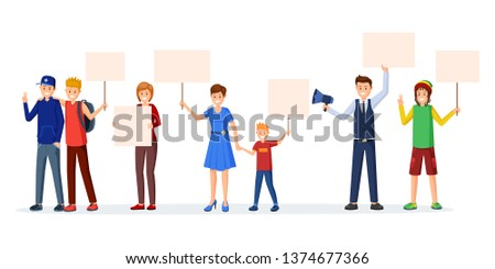 Human rights protection flat vector illustration. Adults, teenagers, kids protesting, participating in social movement with empty placards, posters. Unconventional participation concept
