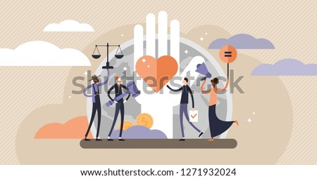 Human rights vector illustration. Flat tiny equal and variety persons concept. No racism, gender or sexual discrimination movement. Freedom, love and equality symbol. Protest for tolerance and respect