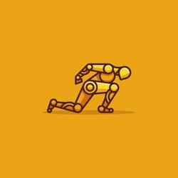 Human Robot Runner Character Vector Template