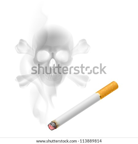 Human scull appears in Cigarette Smoke on white