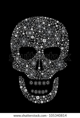 Human scull as abstract floral illustration on black background for design