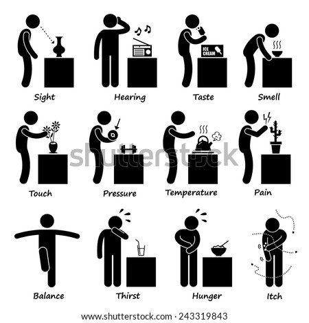 Human Senses Stick Figure Pictogram Icons Сток-фото ©