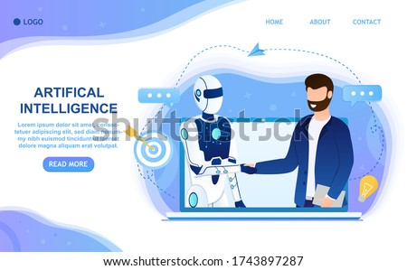 Human shakes the robot's hand. Interaction with artificial intelligence. Partnership between man and humanoid robot. Meeting a robot with a man. Suitable for landing web and printing Flat Vector