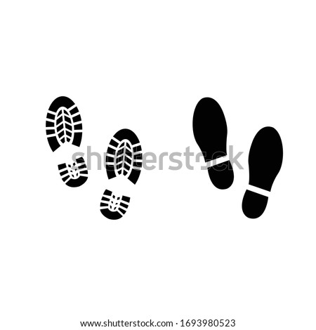 Human shoes black silhouette on white background. Foot step safety shoe symbol icon.Vector illustration. Photo stock ©