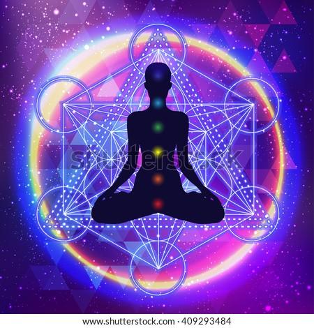 human silhouette meditating or