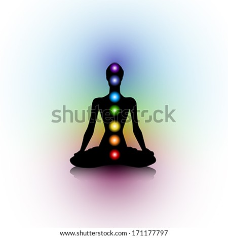 Human silhouette with chakras #171177797