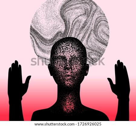 Human silhouette with halo disk behind head and rised hands. Creepy weird conceptual illustration about cults, sects and other religious spiritual movements. Stock photo ©