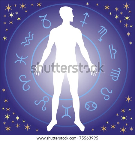 human silhouette with zodiac wheel