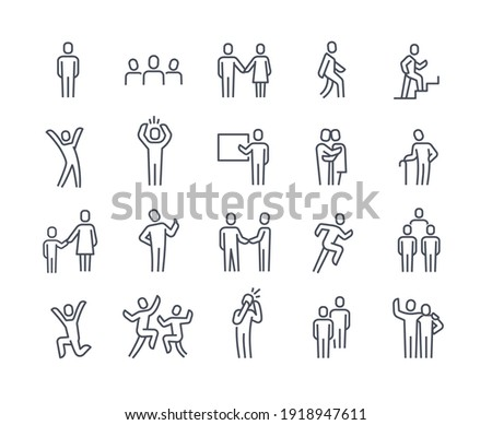 Human silhouettes icon set. Person walking, running, jumping. People shaking hands, climbing stairs, elderly, company leader, friends hugs, mother and child. Flat outline human signs isolated on white