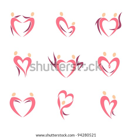 Human silhouettes  in the shape of heart. Icons set.