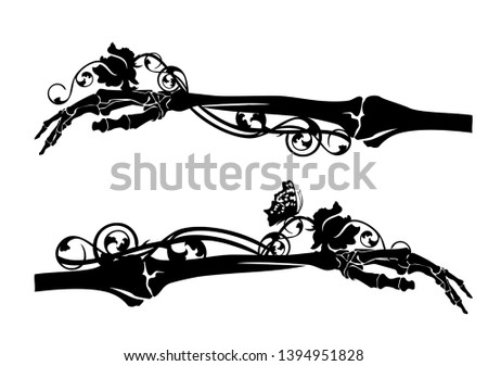 human skeleton hand with rose