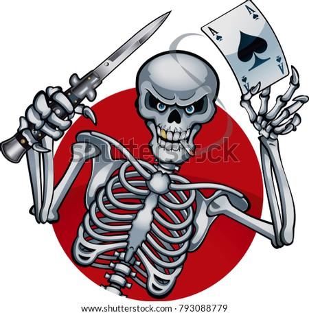 human skeleton holding