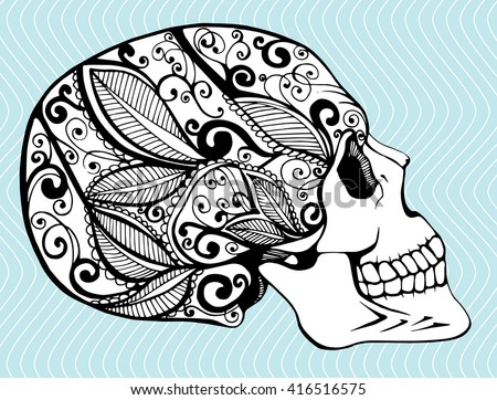 Line Art Flower Drawing : Stylized human skull download free vector art stock graphics