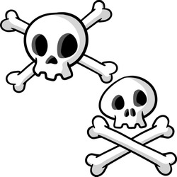 Human skull and crossbones. Dead man's head. Pirate flag Jolly Roger. Set of symbol of robbers and Halloween. Funny cartoon flat illustration