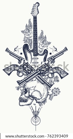 human skull and electric guitar