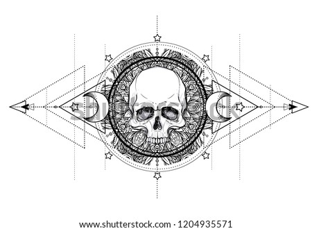 Human Skull and Lotus over Mandala inspired Sacred Geometry. Ayurveda symbol of harmony and balance. Tattoo flesh design, yoga logo. Boho print, poster, t-shirt textile. Isolated vector illustration.