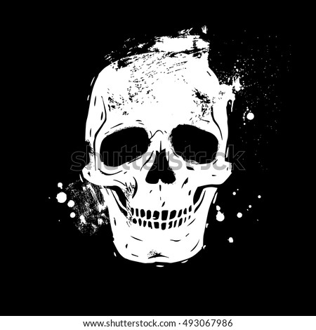 human skull black and white