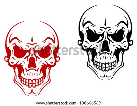 human skull for horror or