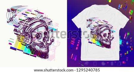 human skull glitch print for t