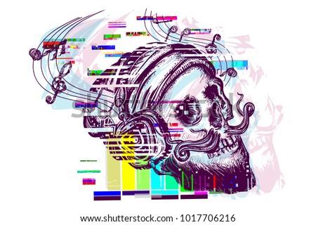 human skull glitch tattoo and t