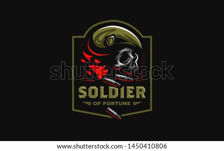 Human skull in a military beret with a cockade, flame and bullets. Vector illustration.