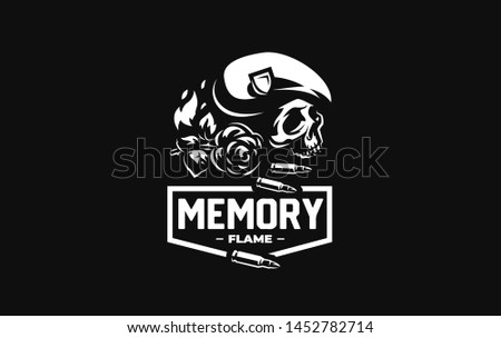 Human skull in a military beret with a cockade, flame, bullets and flower . Vector illustration.