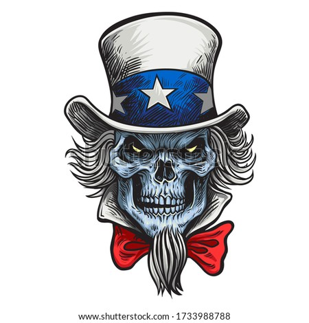 human skull in an uncle sam hat