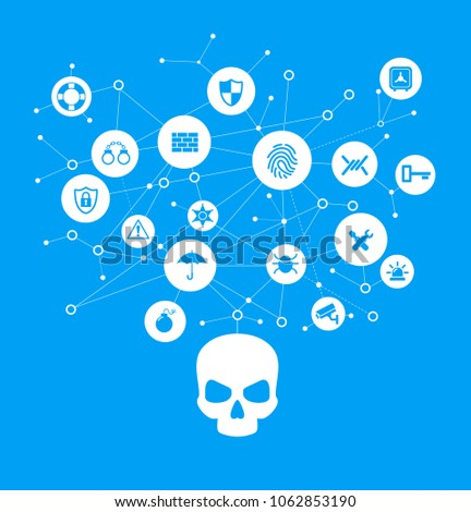 Human skull in digital background. Concept of network security,  computer virus, cyber attack.