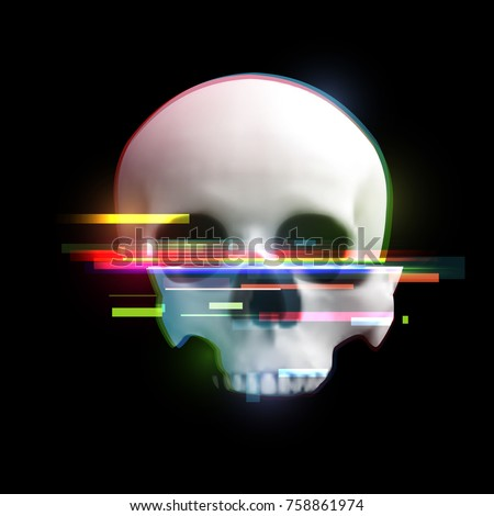human skull in distorted glitch