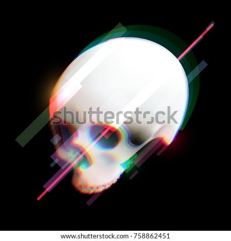 Stock Photo Human skull in distorted glitch style on black background. Modern design element for branding, cover, poster, print textile. Stylish vector illustration.
