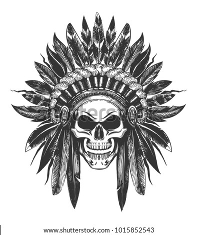 Human Skull in Native American indian War Bonnet drawn in tattoo style. Vector illustration.