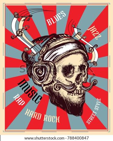 human skull  music poster   t
