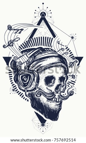 Human skull sacred geometry tattoo and t-shirt design. Skull of the bearded hipster in earphone listens to music. Skull with beard, mustache, hipster hat and headphones tattoo