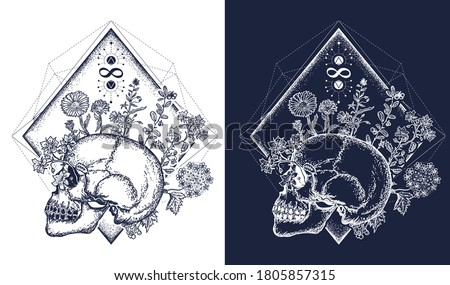Human skull through which flowers, tattoo art, symbol of life and death, sign of infinity and immortality. Concept of human soul. Psychology and poetry t-shirt design. Black and white vector graphics Stock photo ©