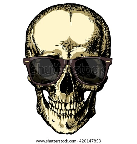 human skull wearing sunglasses