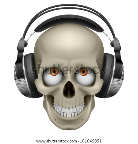 Human skull with eye and music headphones. Illustration on white