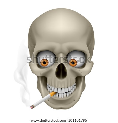 Human Skull  with eyes and cigarette. Illustration on white background