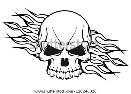 Human skull with flames for tattoo or mascot design such a logo template Jpeg version also available in gallery