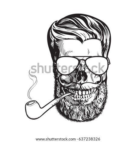 human skull with hipster beard  ...