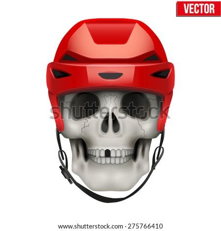 human skull with hockey helmet