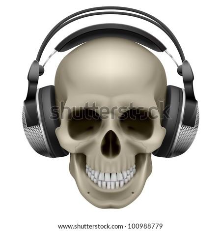 Human skull with music headphones. Illustration on white
