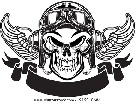 human skull with pilot helmet