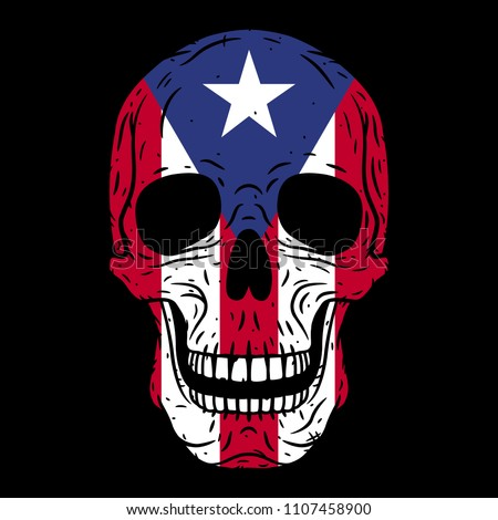 Human skull with Puerto Rico flag isolated on black background Foto stock ©
