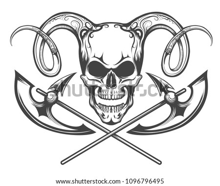 Human Skull with Ram Horns and Battle Axes. Vector illustration drawn in tattoo style.