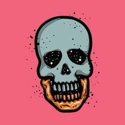 Human skull with shiny golden jaw concept. Rich, death, skeleton and horror vector drawing. Logo illustration isolated on pink background