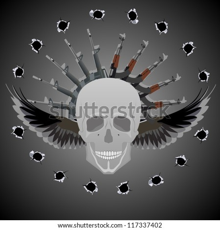 Human skull with wings on the background of abstract automatic weapons and bullet holes. - stock vector